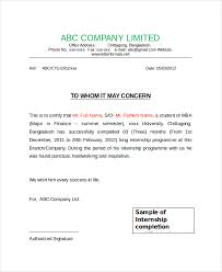 Internship Certificate Sample Internship Certificate Letter Format