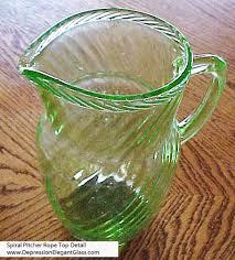 hocking spiral green depression glass pitcher rope top detail