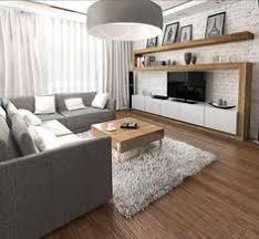 living room with tv. Furnishing Ideas Living Gray Sofa TV Wall Wood White Brick - I Like The Light. Room With Tv