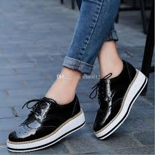 women platform oxfords brogue flats shoes patent leather lace up pointed toe female footwear shoes for women creepers gold shoes mens casual shoes from