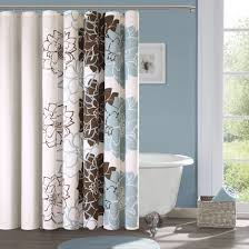 white and brown shower curtain