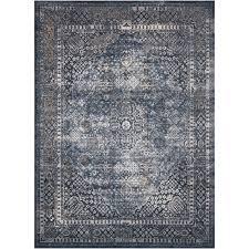 5 x 8 medium navy blue cream and rust area rug malta rc willey furniture