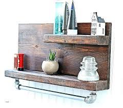 wooden towel shelf bathroom wall shelves wood mounted beautiful rustic pipe with bar hangers ladder rust