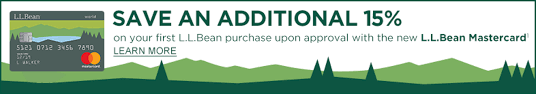 save an additional 15 on your first l l bean purchase upon approval with the new