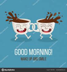 Guten Morgen Zwei Freunde Lustige Comic Tassen Kaffee Glücklich