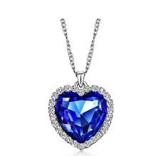 whole whole classic zircon titanic ocean heart necklace sapphire dark blue crystal heart pendant statement chain necklace woman jewelry n54 name
