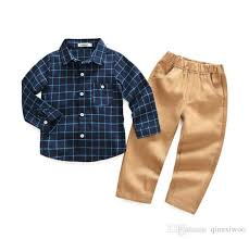 Shirts With Pants 2019 New Spring Autumn Baby Boys Clothes Set Kids Plaid Shirt Pants Boys Sets Children Outfits Clothing Suit W098 From Qianxiwoo 19 63