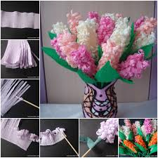 Making Flower Using Crepe Paper Diy Beautiful Crepe Paper Hyacinth Flower