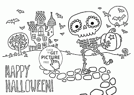 Cute Skeleton Coloring Pages For Kids Halloween Free Halloween