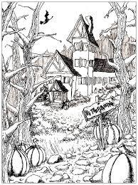 Halloween Dessin Maison Hantee Complexe Coloriage Halloween