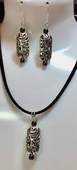 elegant silver earring and pendant set silver pendant hemalyke black pearl beads sterling silver wire