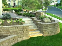 lovely sloped backyard retaining wall retaining wall