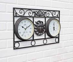uk g large indoor and outdoor garden clock and thermometer wall mounted attractive wall