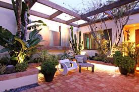 tropical outdoor lighting. courtyard lighting patio tropical with plant pots plastic outdoor flower
