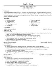 retail parts pro resume example completed resume examples