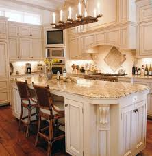 Backsplash Tile Design Drop Ceiling Lighting Mediterranean Kitchen Black  Glass Countertop White Microwave