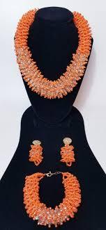 New Bead Designs Orange Elegant Latest New Design African Beads Bridal Wedding Party Jewelry Set