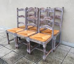 vintage french six solid oak ladder back rush seats dining chairs white washed look