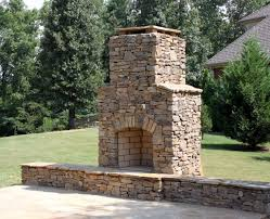 outdoor stone fireplace. Moss Rock Stone Outdoor Fireplace In Hoover, AL