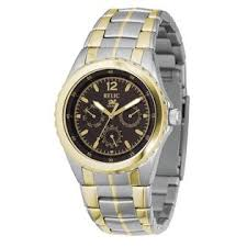 relic mens dress watch black dial and two tone link band relic mens dress watch black dial and two tone link band