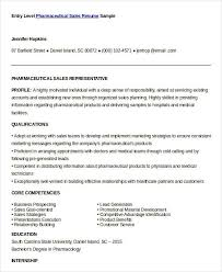Entry Level Pharmaceutical Sales Resume