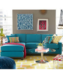 Peacock Colors Living Room Keegan Fabric Sectional Sofa Living Room Furniture Collection