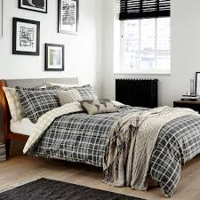 mens duvet covers  check bedding in charcoal at bedeck