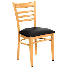 lancaster table seating spartan series metal ladder back chair with natural wood grain finish and black