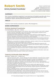 Activities Resume Format Stunning Activity Assistant Resume Samples QwikResume