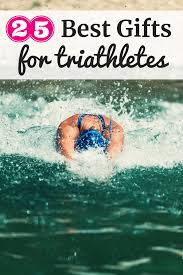 a woman swimming with a text overlay about best gifts for triathletes