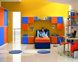 Boys Bedroom Idea with Yellow Wall Paint Color and Orange Blue ...