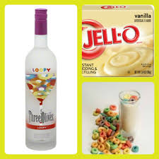 fruit loops pudding shots 1 small pkg vanilla pudding instant not the cooking kind ¾ cup milk ¾ cup three olives loopy vodka 8oz tub cool whip