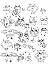Owls Composing A Simple Doodle Drawing