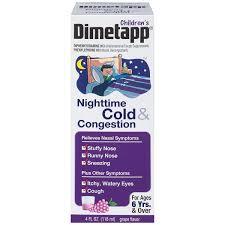 Childrens Dimetapp Nighttime Cold Congestion 4 Fl Oz Grape Flavor Nasal Decongestant Antihistamine Cough Suppressant Ages 6