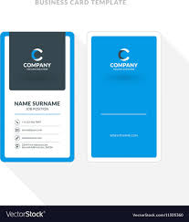 009 Template Ideas Vertical Double Sided Business Card Blue Vector