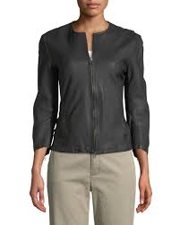 atm anthony thomas melillo collarless leather moto jacket neiman marcus