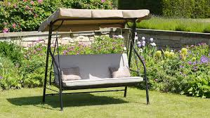 luxury beige swing bed 3 seater garden swing seat with cushions adjule canopy