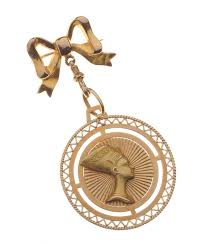 9ct gold bow brooch with 14ct gold egyptian queen nefertiti disc at ross s art auctions