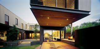 Big Terrace With Recessed Light In Wooden Ceiling Also White Lounge Chair  And Outdoor Fireplace Also ...