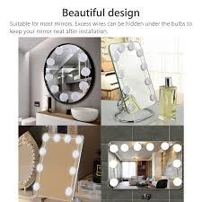 tsv hollywood style led vanity mirror lights kit with dimmable light bulbs lighting fixture strip for makeup vanity table set in dressing room mirror not