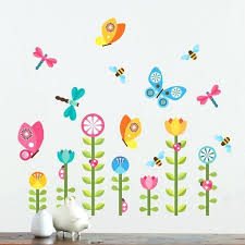 flower wall decals collage erfly garden fabric decal art hobby lobby