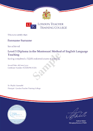 diploma in montessori method of english language teaching  upon successful completion participants will be awarded level 5 diploma in montessori method of teaching english by london teacher training college