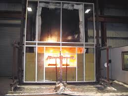 exterior curtain wall floor intersection. the outside flame at 15 minutes and 45 into a curtain wall exterior floor intersection