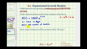 exponential function y ae kt bacteria growth