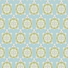 Behang Met Groot Schildpadden Patroon Blauw Groen