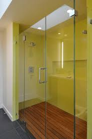 brightly colored in yellow walk in shower design