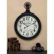 decmode 39 x 28 wooden pocket watch wall clock black and white com