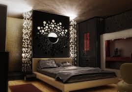 bedroom: Delightful Interior Asian Bedroom Decor With Stylish Wall Decor  Also Nice Ceiling Lamp In