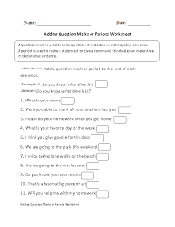 Adding Question Marks or Periods Worksheet Part 1 Beginner ...