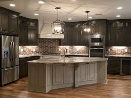 brick backsplash ideas for country kitchen with brown floor